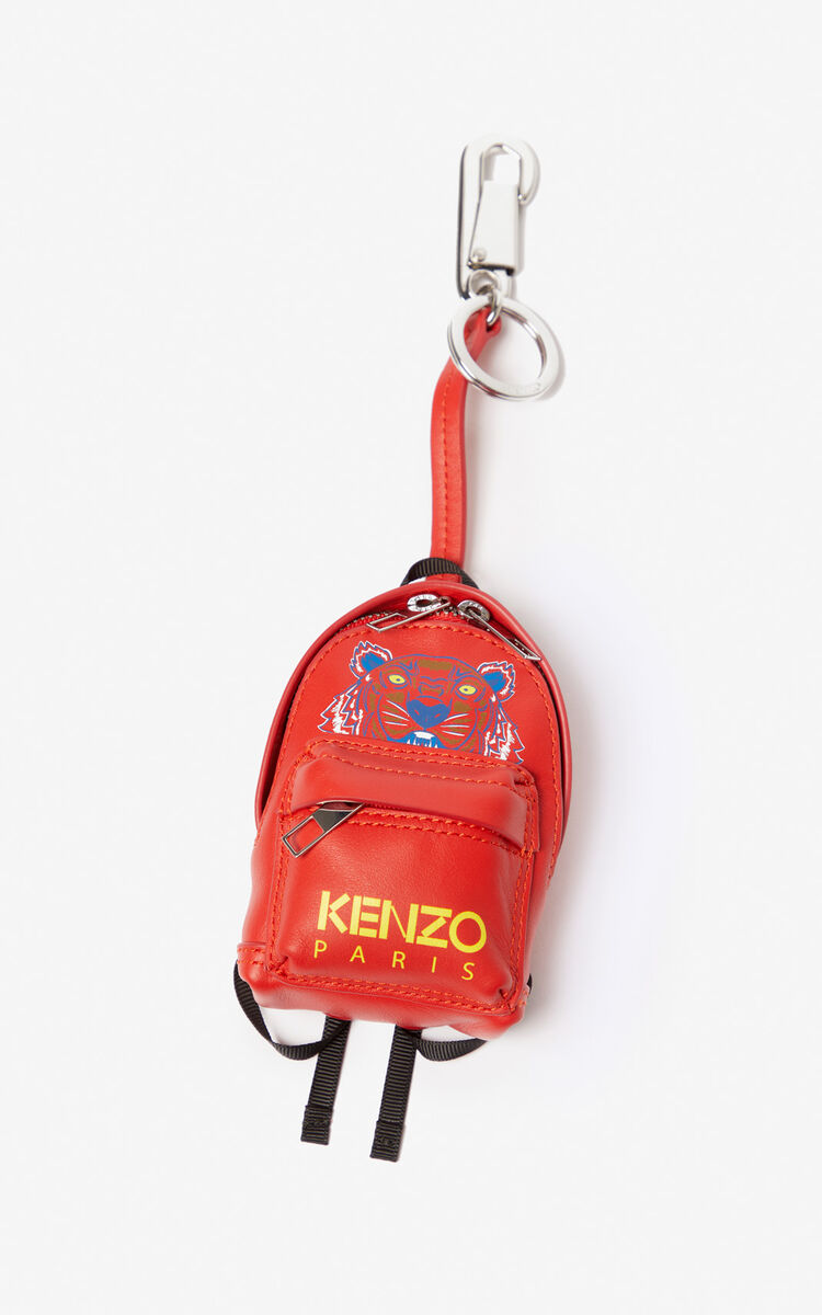 MEDIUM RED Tiger backpack leather keychain for unisex KENZO