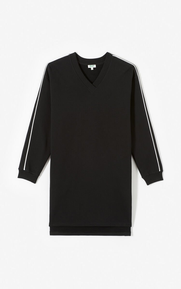 BLACK KENZO Logo sweatshirt dress for women