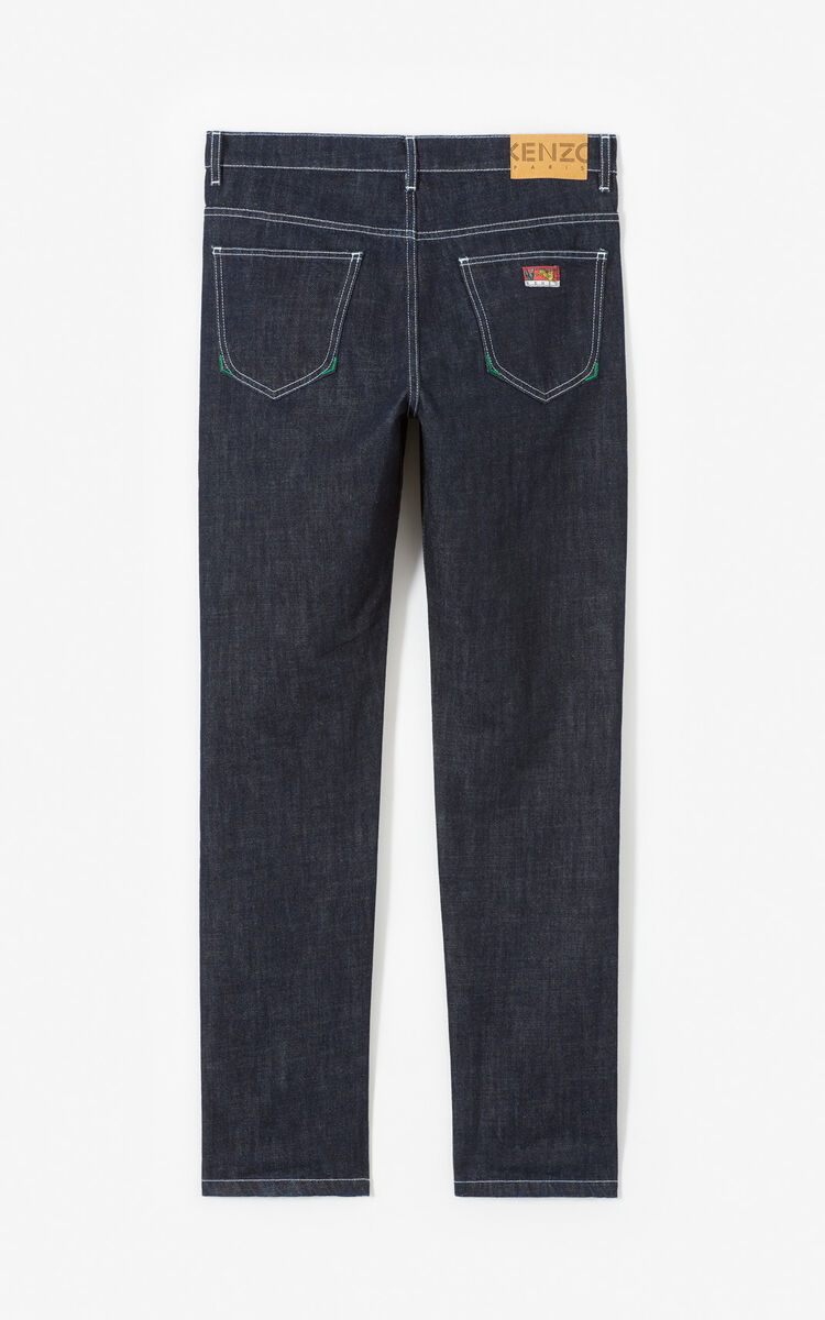 NAVY BLUE Raw slim jeans with turn-up hem for men KENZO
