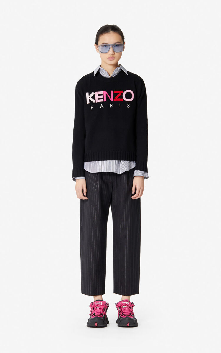 BLACK Woollen KENZO Paris jumper for women