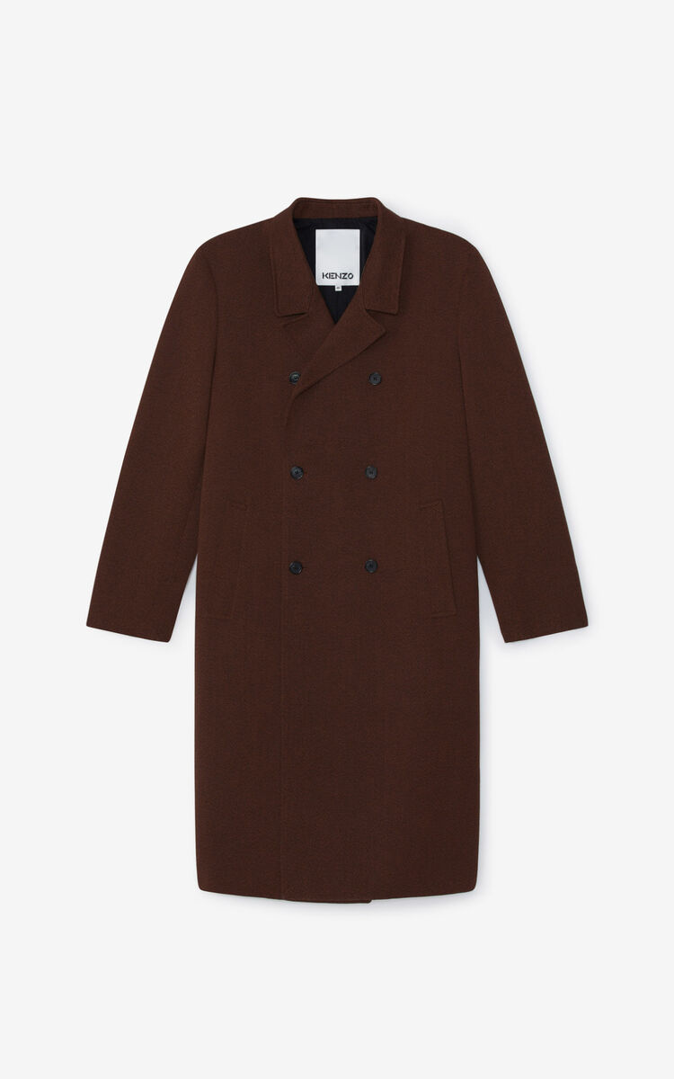 DARK CAMEL Double breasted coat for men KENZO