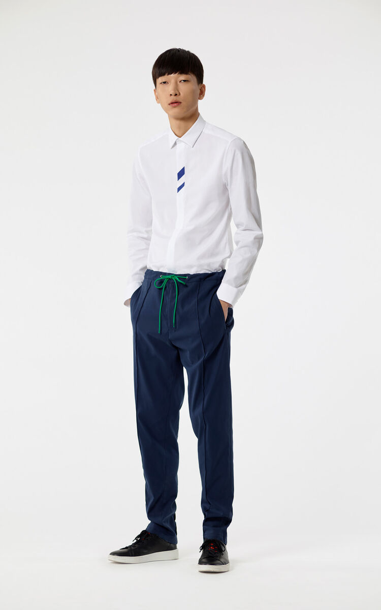 NAVY BLUE Single pleated trousers for men KENZO