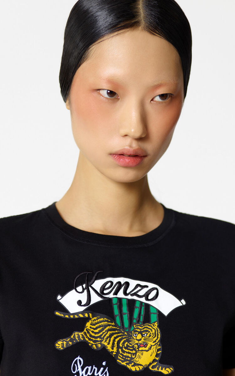 BLACK 'Bamboo Tiger' t-shirt for women KENZO