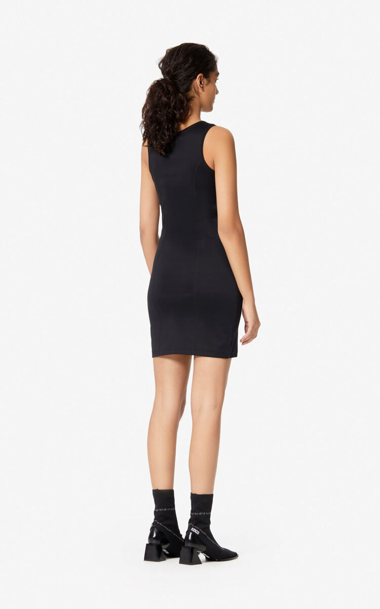 BLACK KENZO logo bodycon dress for women