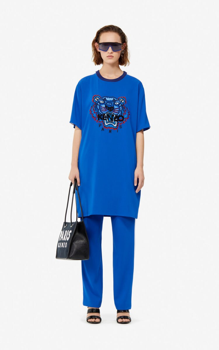ELECTRIC BLUE Crepe Tiger dress for women KENZO