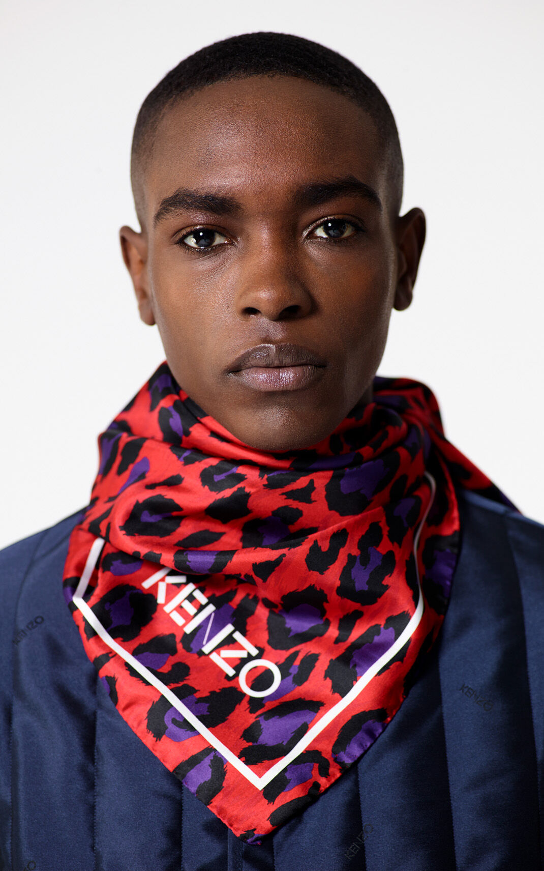 MEDIUM RED Leopard print square silk scarf for unisex KENZO