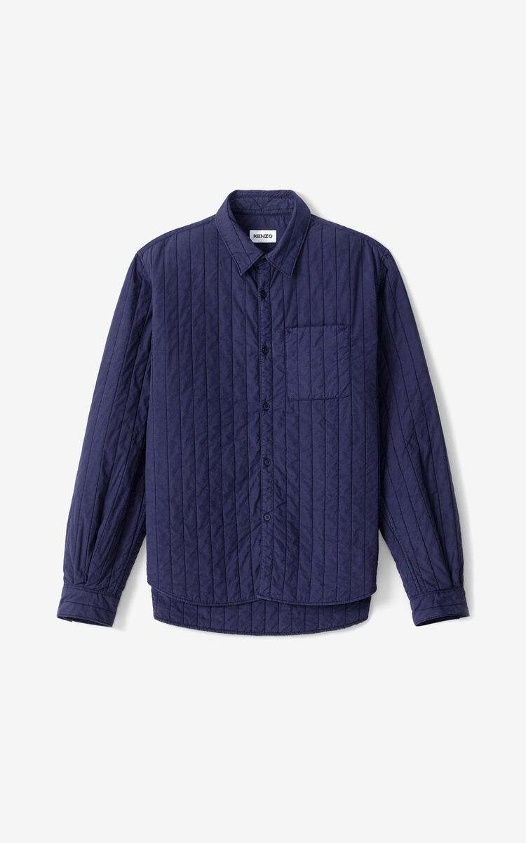NAVY BLUE 'Cheetah' quilted shirt for men KENZO