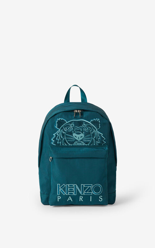DUCK BLUE Kampus Tiger canvas backpack for women KENZO