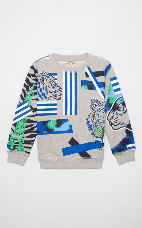 MIDDLE GREY 'Tiger Friends' sweatshirt for men KENZO