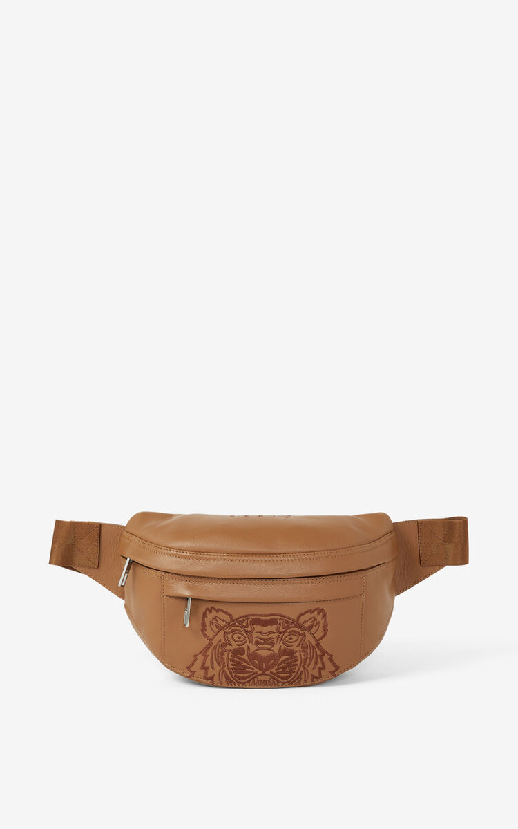 CHESTNUT Kampus Tiger grained leather belt bag for women KENZO