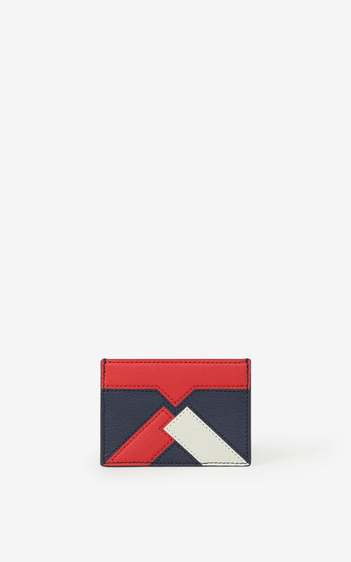 MEDIUM RED Kube leather cardholder for unisex KENZO