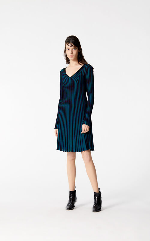 BLACK Pleated knit dress for women KENZO