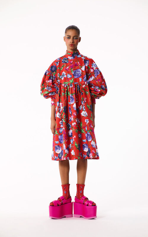 MEDIUM RED 'Wild Flowers' Dress for women KENZO