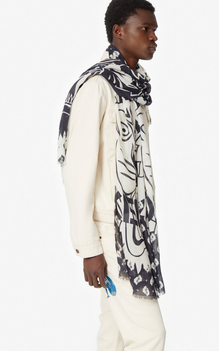 BLACK Two-tone Tiger scarf for unisex KENZO
