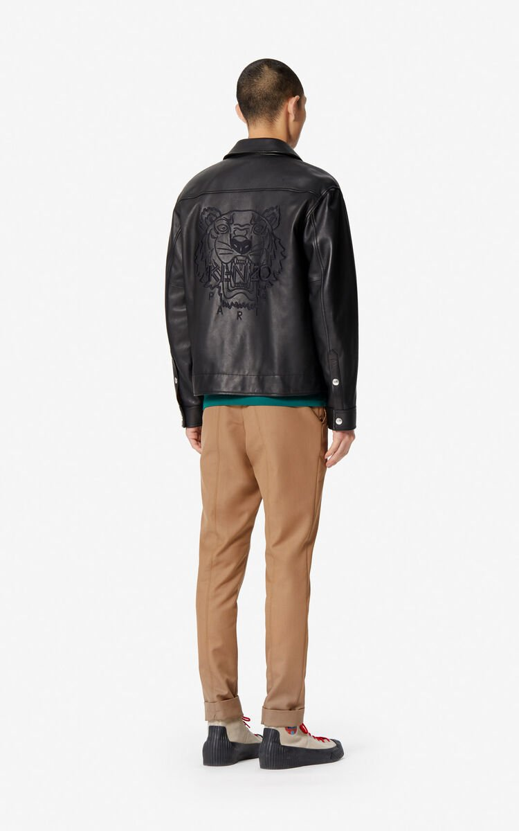 BLACK Leather Tiger jacket for men KENZO