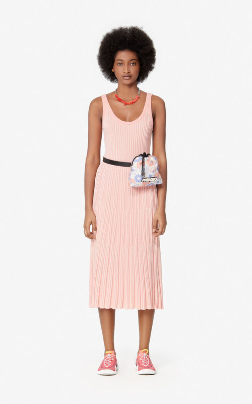 FLAMINGO PINK Knit midi dress for women KENZO