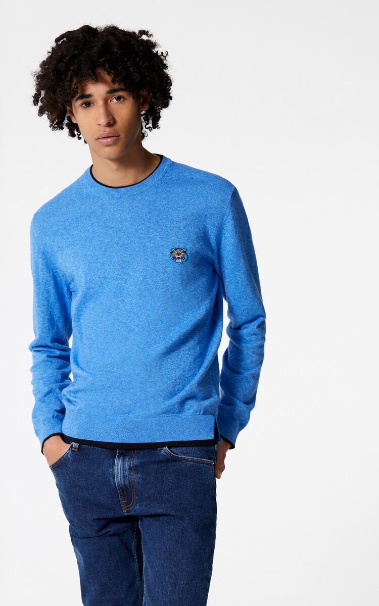 FRENCH BLUE Tiger Jumper for men KENZO