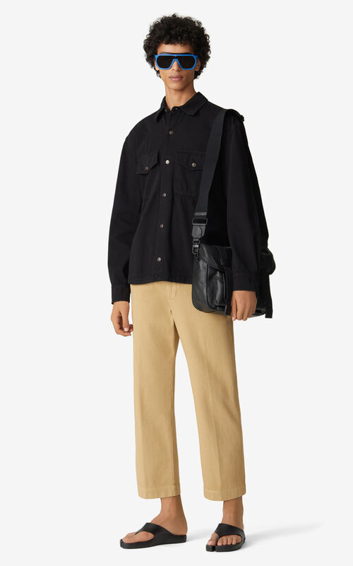 BLACK Overdyed overshirt for men KENZO