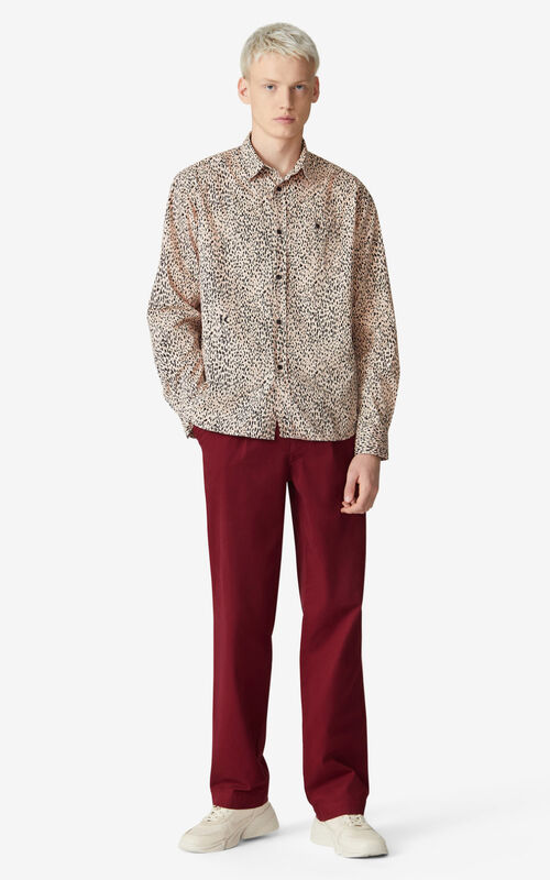 FADED PINK 'Leopard' casual shirt for men KENZO