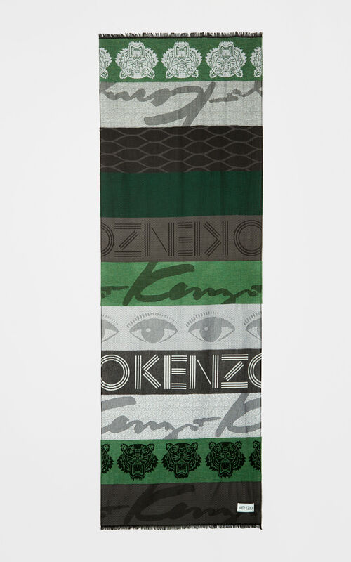 BOTTLE GREEN Multi icon scarf for unisex KENZO