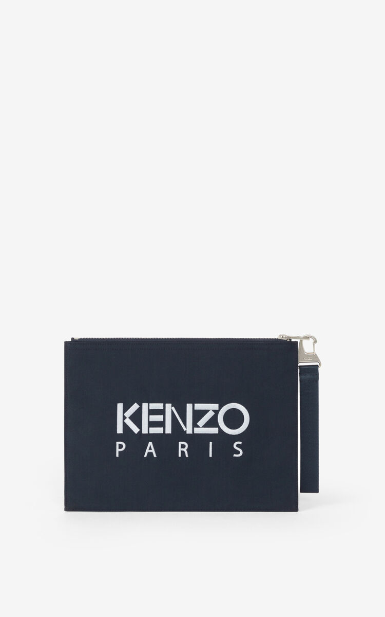 MIDNIGHT BLUE Large canvas Kampus Tiger pouch   for unisex KENZO