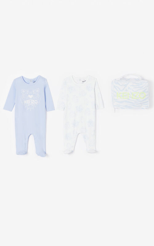 WHITE Set of two 'Tiger & Friends' sleepsuits for women KENZO