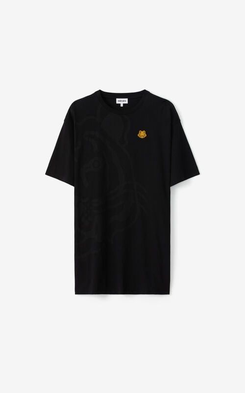 BLACK K-Tiger oversized T-shirt dress for unisex KENZO