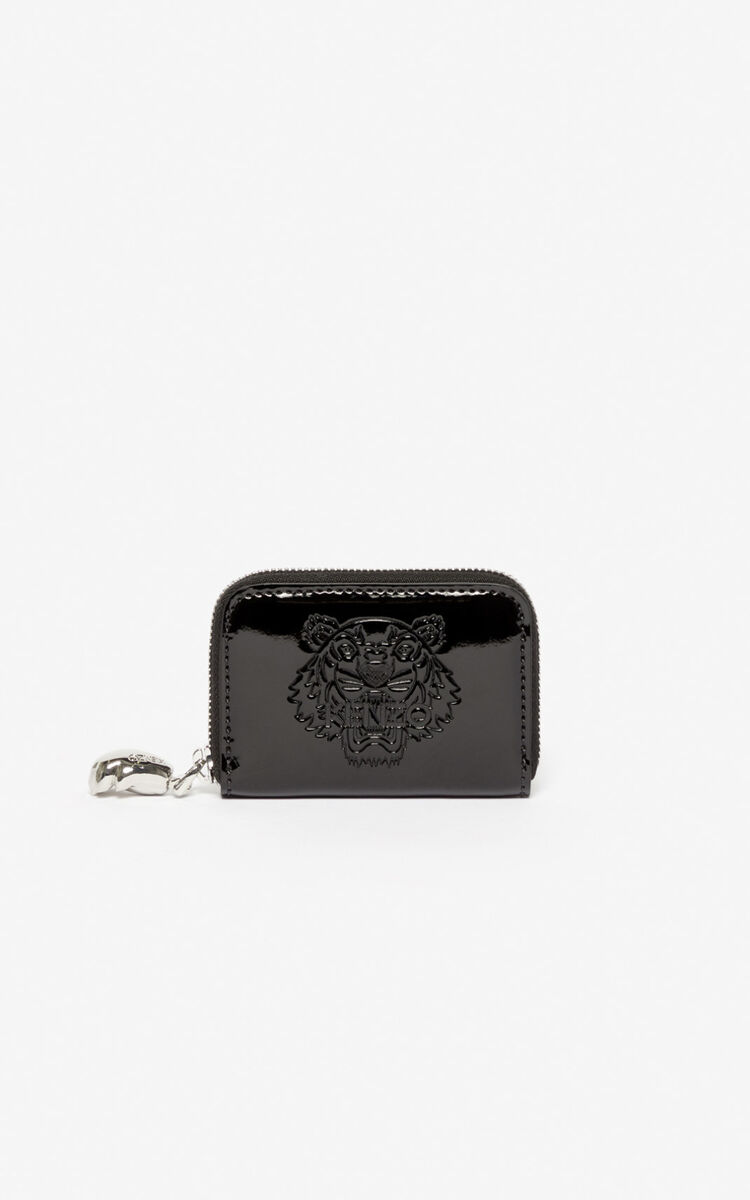 BLACK Tiger coin purse for unisex KENZO