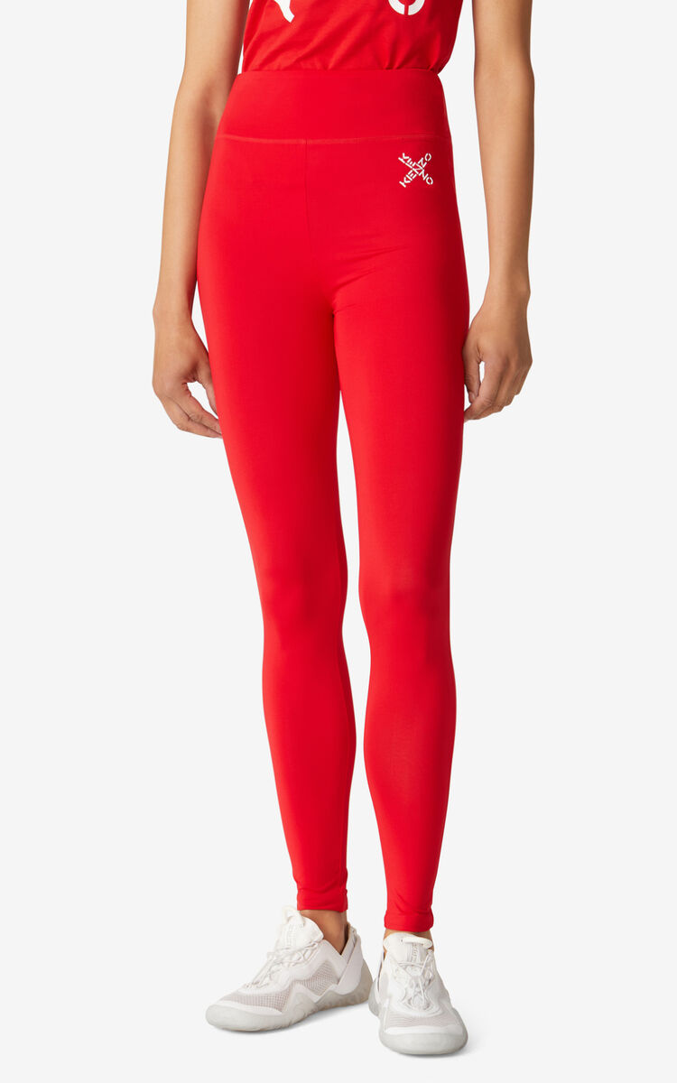 MEDIUM RED KENZO Sport 'Little X' leggings for men