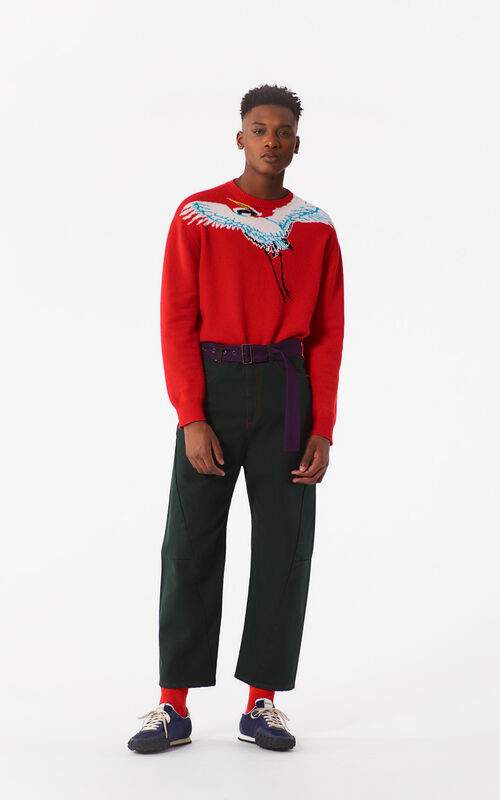 MEDIUM RED 'Crane' Sweater for men KENZO