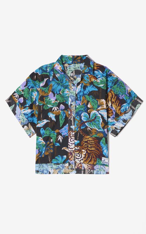 BLACK Reversible 'Bamboo Tiger' shirt for unisex KENZO