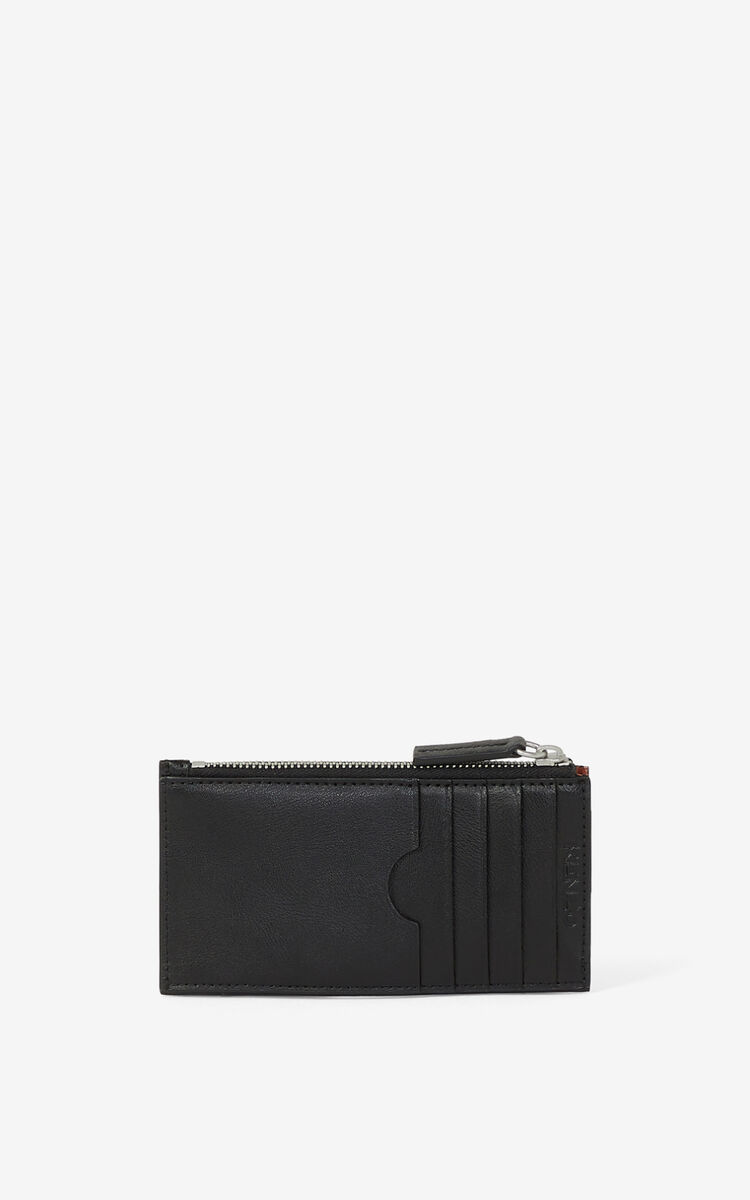 BLACK KENZO Cadet zipped leather card holder for unisex