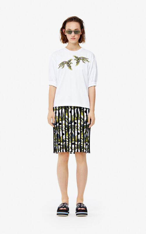 WHITE 'Flying Phoenix' top for women KENZO