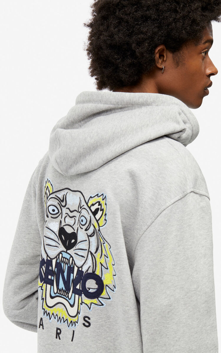 PEARL GREY Tiger zipped sweatshirt for men KENZO