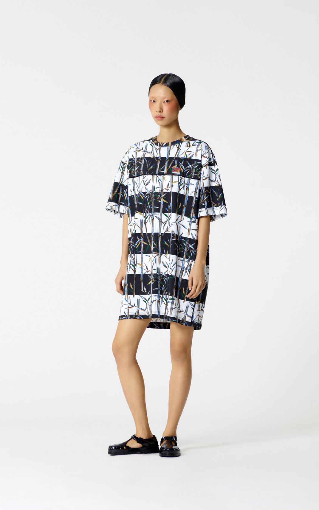 WHITE 'Bamboo Stripes' t-shirt dress for women KENZO