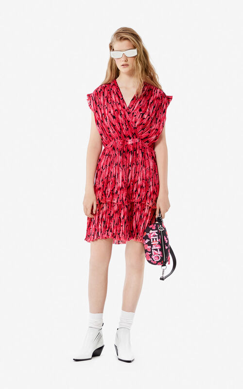 DEEP FUSCHIA Pleated 'Peonie' dress for women KENZO