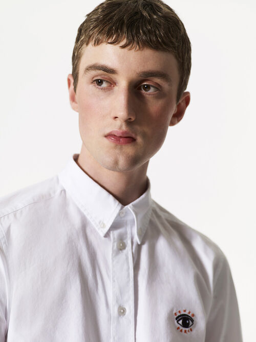 WHITE Eye Embroidered Shirt for men KENZO