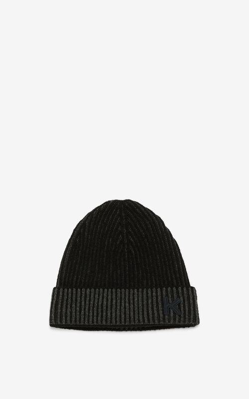 STONE GREY K Logo rib knit cap for unisex KENZO