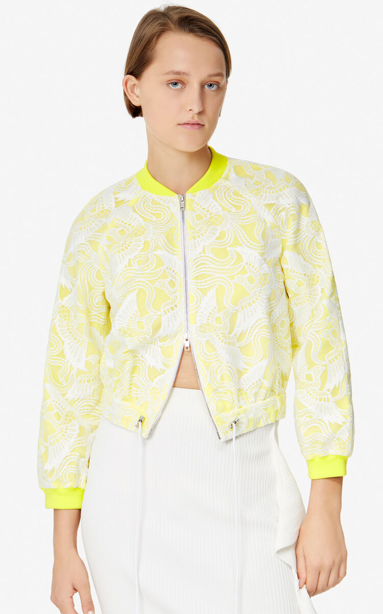 WHITE 'Flying Phoenix' short jacket for women KENZO