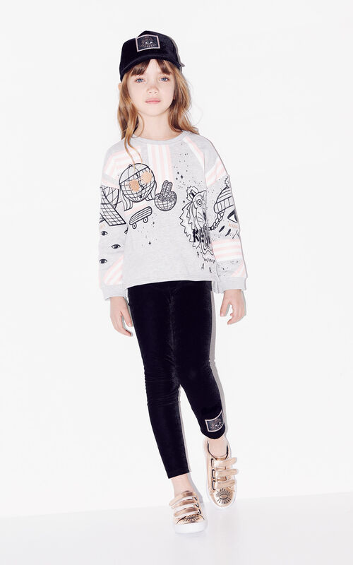 PALE GREY 'Cosmic' multi-icons sweatshirt for women KENZO