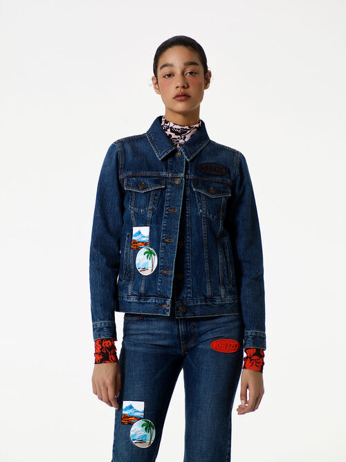 Denim Jacket with Badges, NAVY BLUE, KENZO