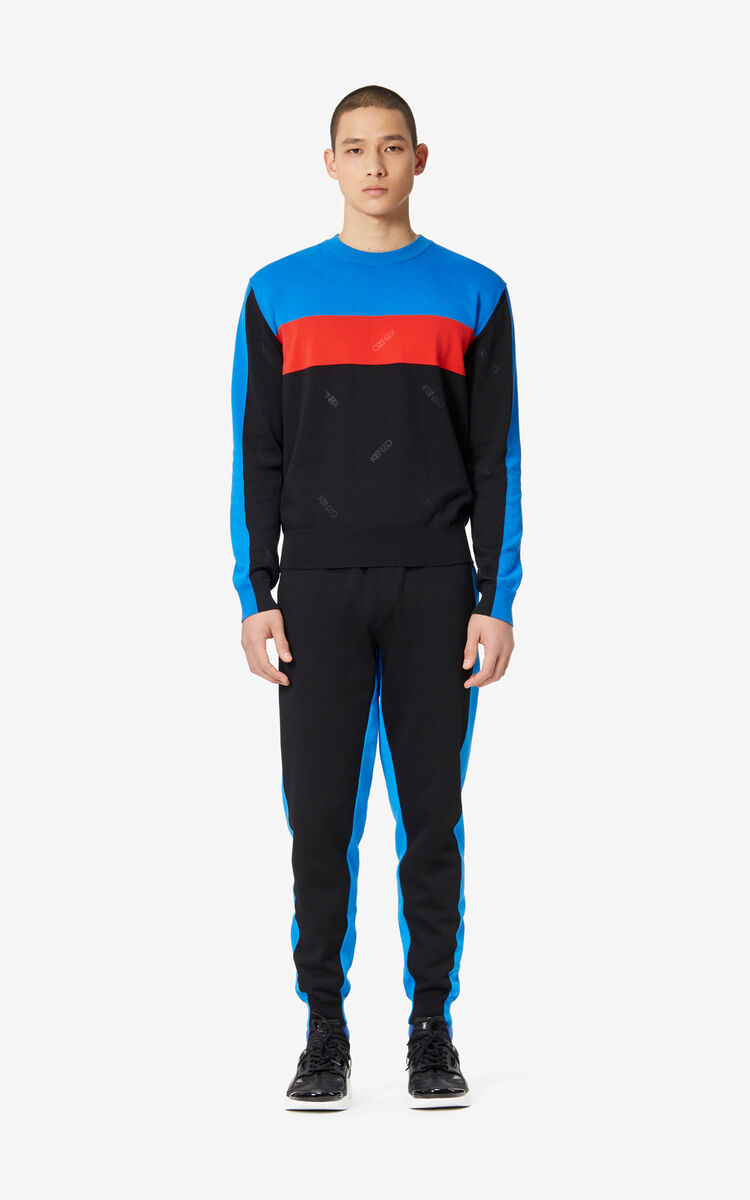 BLACK Colourblock jumper for men KENZO