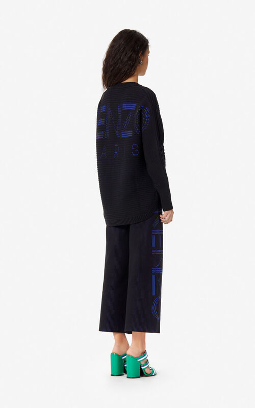 BLACK KENZO Logo zipped cardigan for women