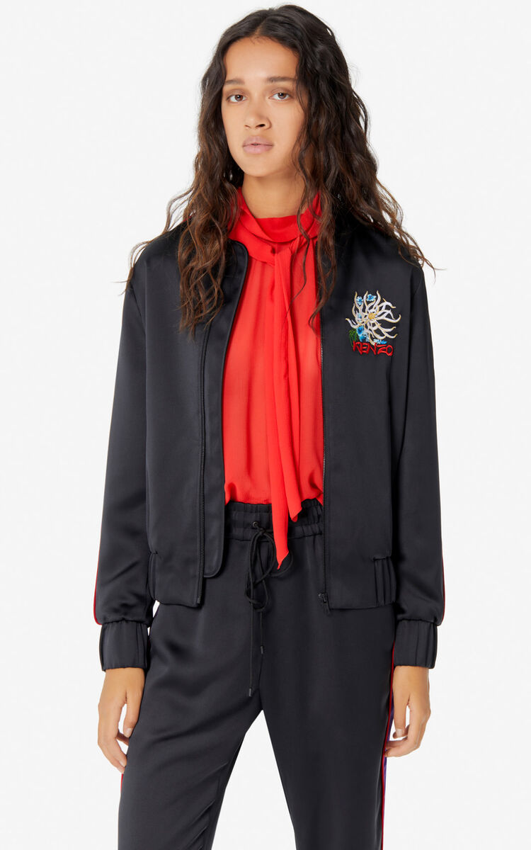 BLACK 'Sea Lily' bomber jacket for women KENZO