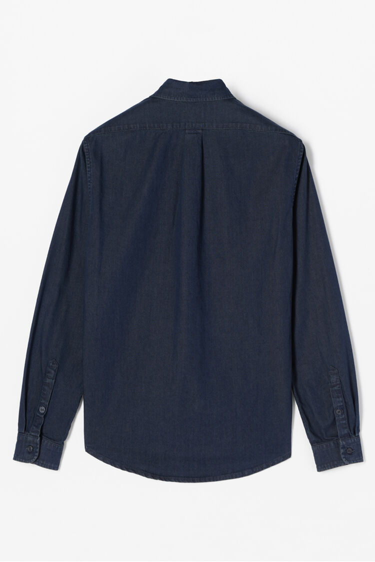 NAVY BLUE Denim Tiger Crest Shirt for men KENZO