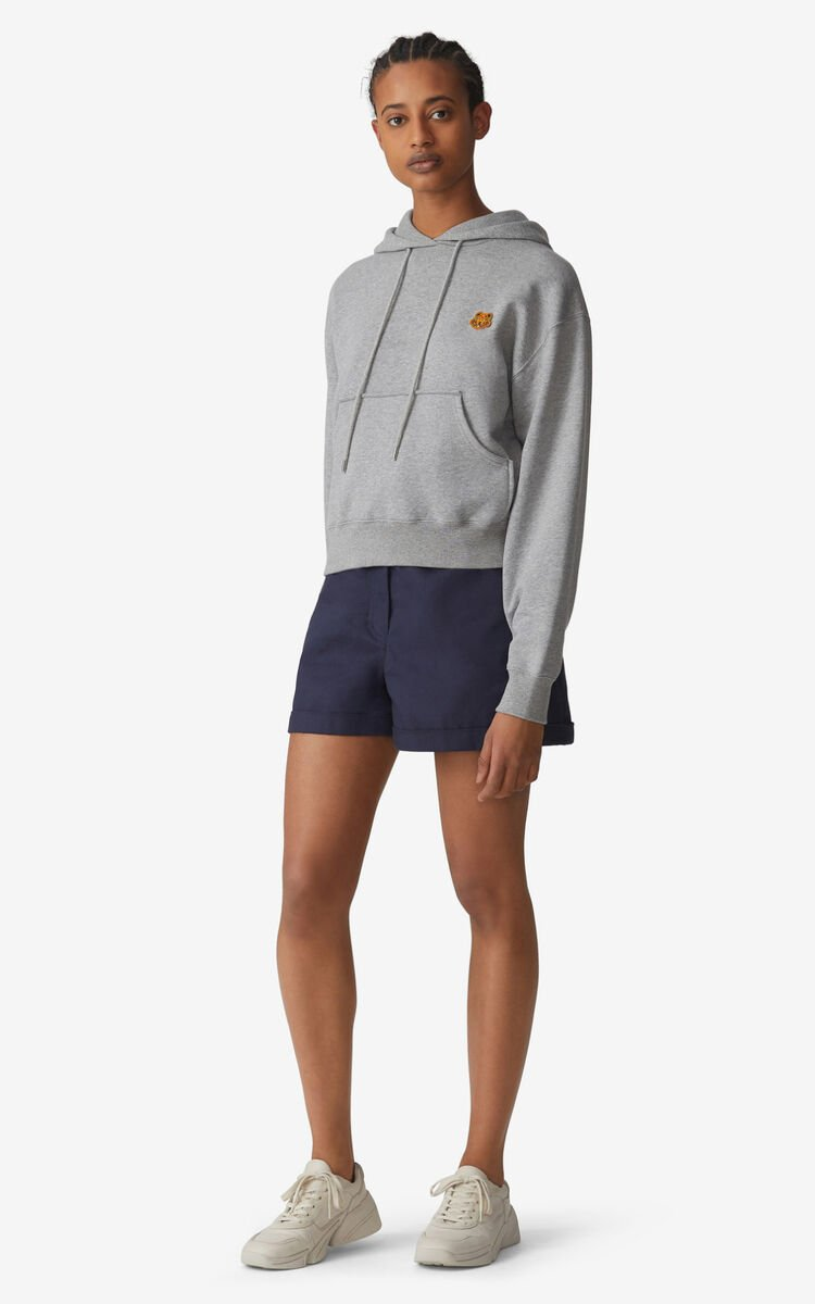 PEARL GREY Tiger Crest boxy hoodie for women KENZO
