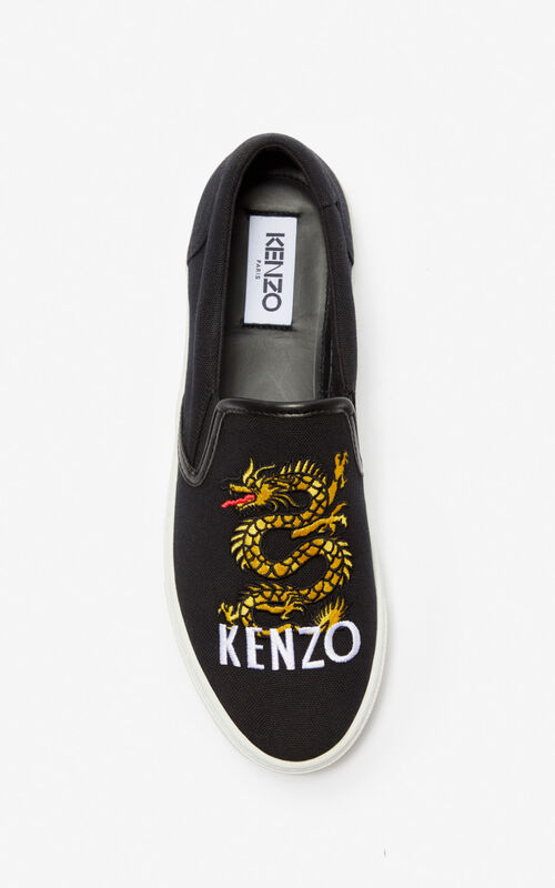 BLACK 'Dragon' slips-on for unisex KENZO