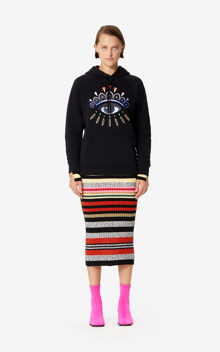 BLACK Eye hoodie with fade for women KENZO