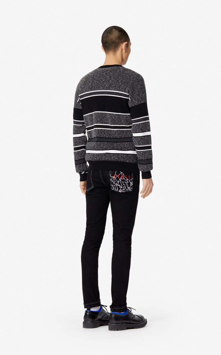 BLACK 'Jumping Tiger' striped jumper for women KENZO