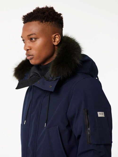NAVY BLUE Long Fur parka for men KENZO
